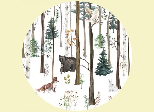 Wandtapete mit Waldtieren rund