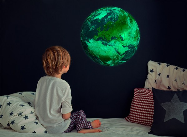 Leuchtaufkleber Planeten Erde bedruckt