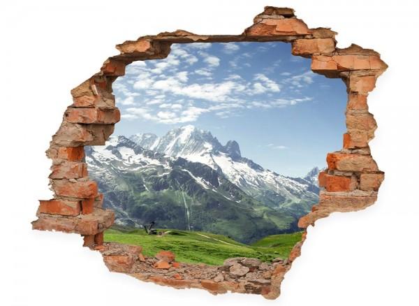 Wanddurchbruch mit Blick auf eine Almwieser