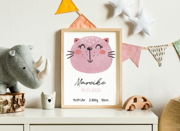 Baby Poster mit Tier und Namen