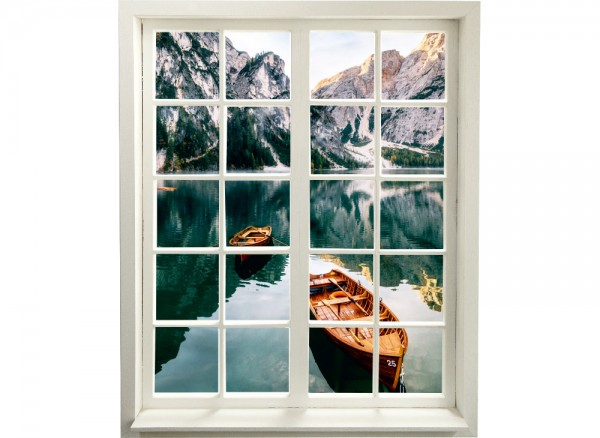 3DSprossenfenster als Wandaufkleber mit Bergsee