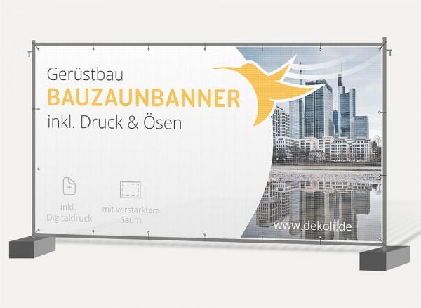 Bauzaunbanner & Gerüstbanner mit Druck und Ösen 340 x 175cm - selbst gestalten