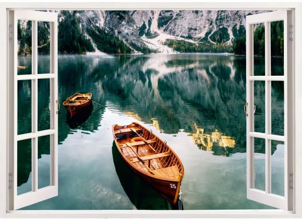 Fensterform Aufkleber mit Blick auf Bergsee