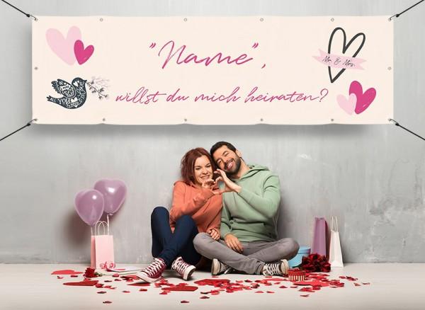 Heiratsantrag Banner mit Vorlage