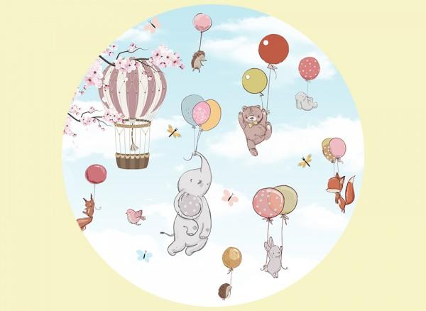 Wandtapete mit süßen Tieren die an Luftballons schweben