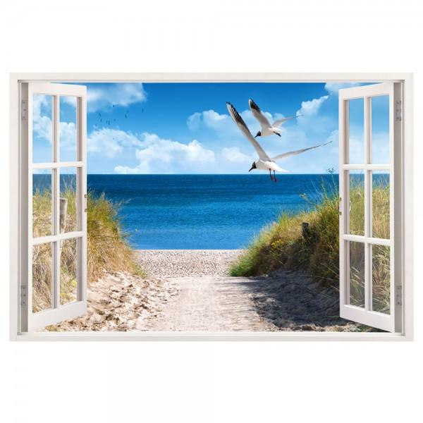 Leinwand Fenster Strand mit Möwen