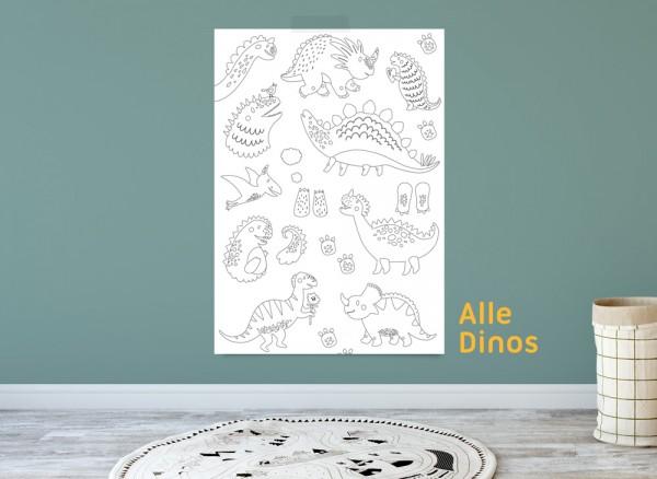 Ausmalposter Dinosaurier für Kinder