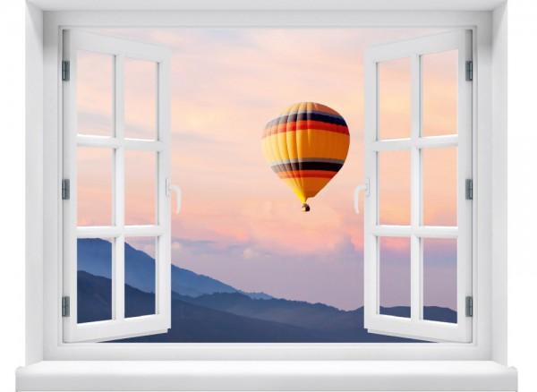 Fenster Wandtattoo mit Ausblick auf bunten Ballon