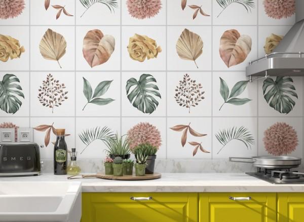 Fliesenaufkleber Floral Beispiel Küche 1