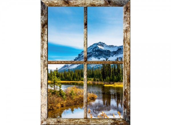3D Fenster mit braunen Rahmen mit idyllischem Landschaftsmotiv