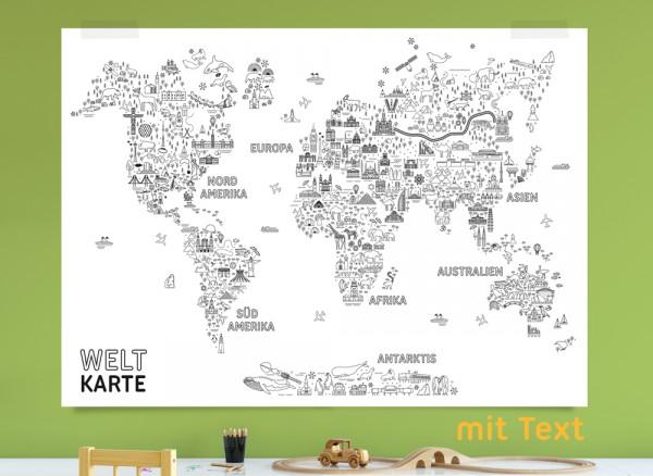 Ausmalposter Weltkarte in groß
