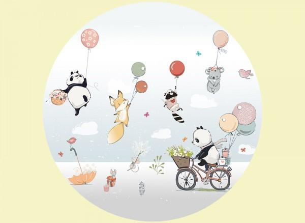 Runde Wandtapete für das Kinderzimmer Panda und seine Freunde
