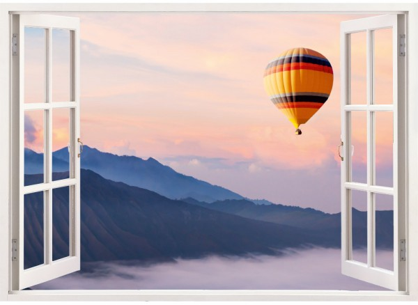 Heißluftballon in Dämmerung Fensteraufkleber