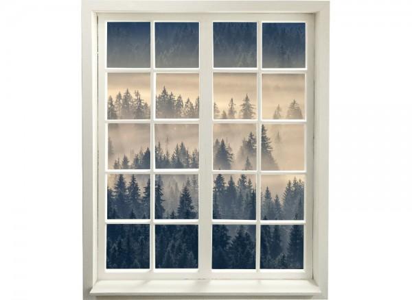 Wandtapete mit Nebelwald als Fenstermotiv