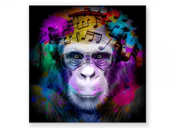 Leinwandbild Affe mit Kopfhöhrer und Pilotenbrille