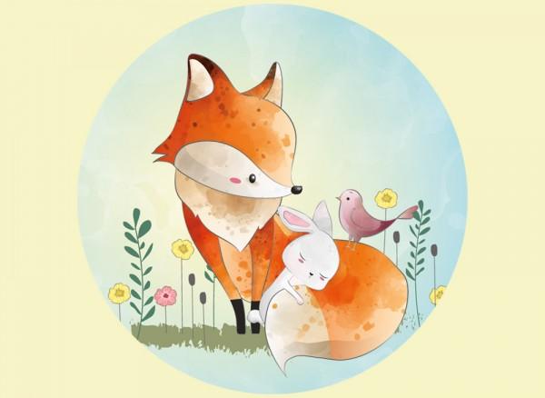 Wandtapete mit Aquarell Fuchs und seinen Freunden