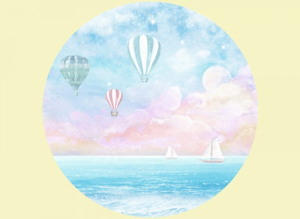 selbstklebende Wandtapete Heißluftballons und Booten