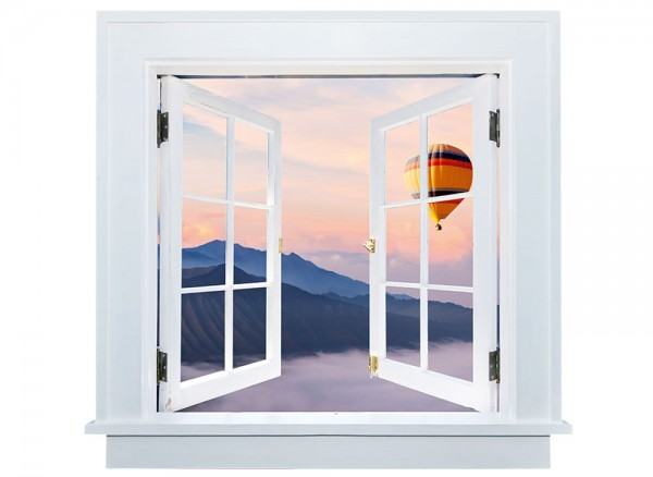 3D-Fenster weiß Heißluftballon