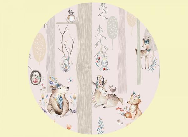Wandtapete mit süßen Waldtieren