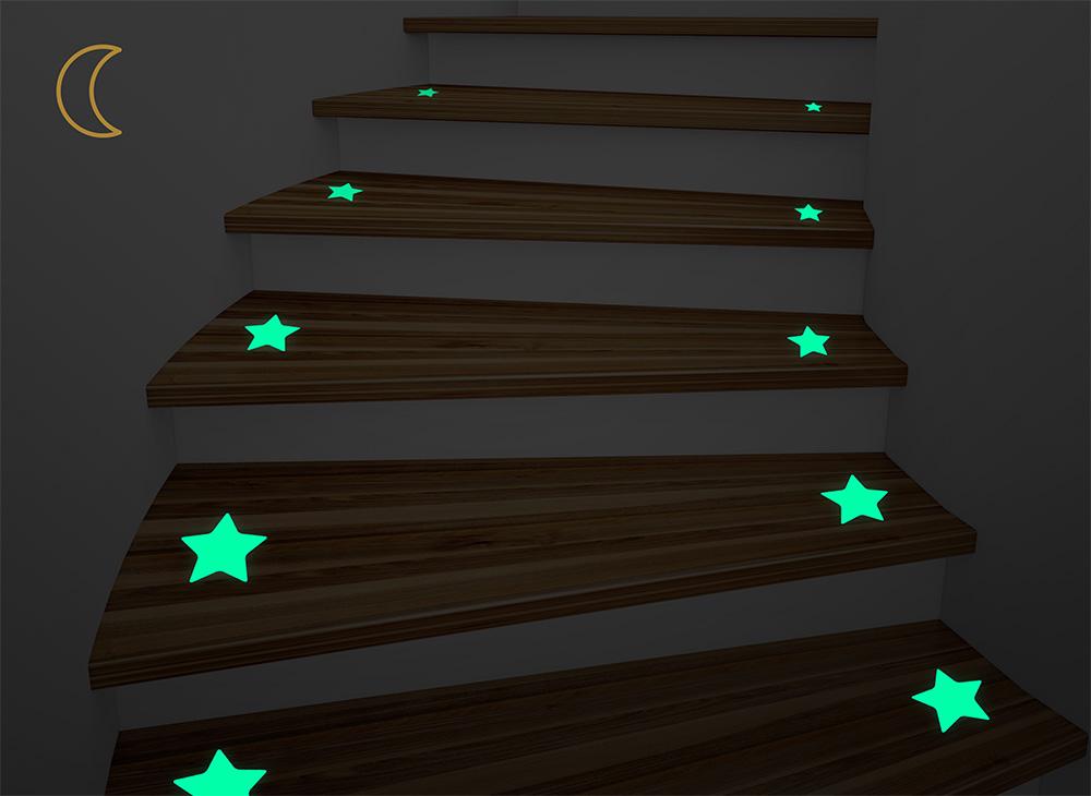 leuchtaufkleber f r treppenstufen dekoli gmbh. Black Bedroom Furniture Sets. Home Design Ideas