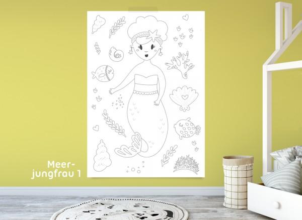 Ausmalposter Kleine Meerjungfrau für Kinder