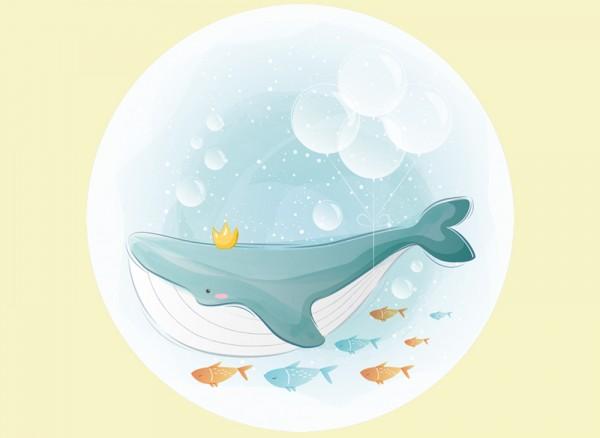 Wandtattoo für das Kinderzimmer Wal und Fische