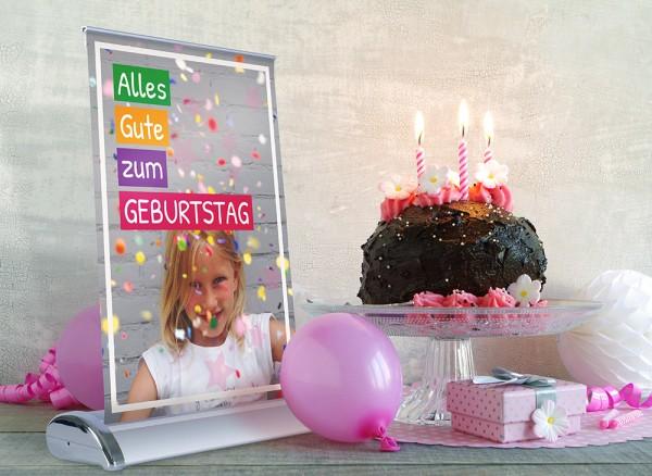 Mini-Rollup Aufsteller Beispielmotiv Geburtstag