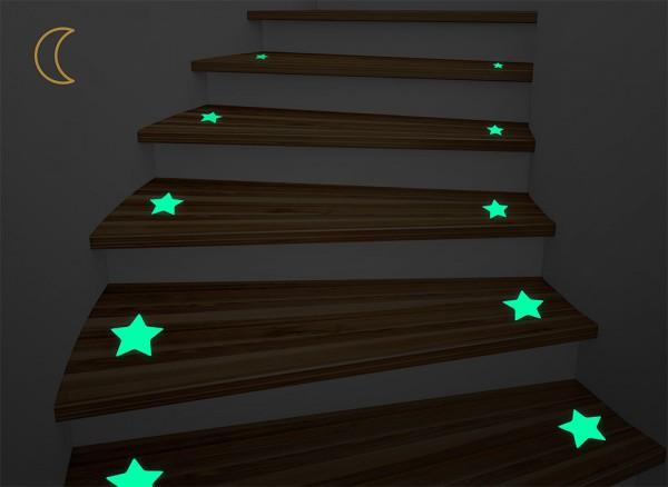 Leuchtaufkleber Treppen Sterne