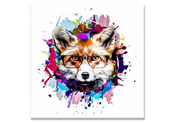 Fuchs mit Brille Leinwand mit Buntem HIntergund