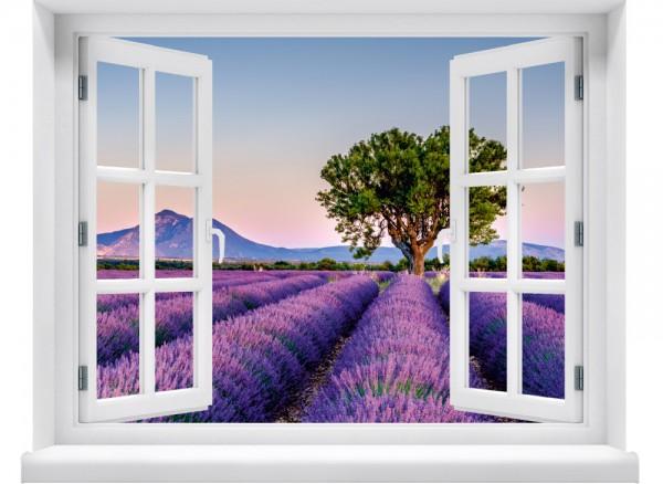 Wandbild Tapete weißes Fenster mit Lavendelfeld