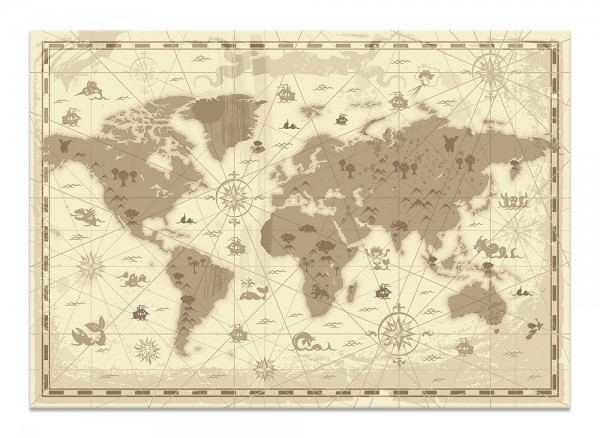 Leinwand Antike Weltkarte
