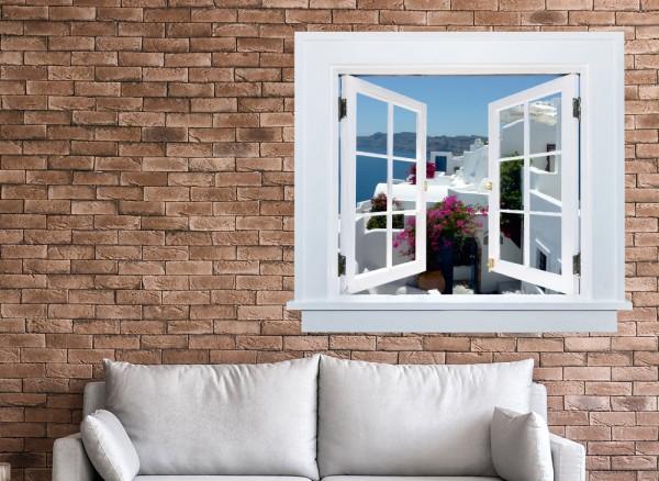 3D Fenster mit Aussicht auf Santorini