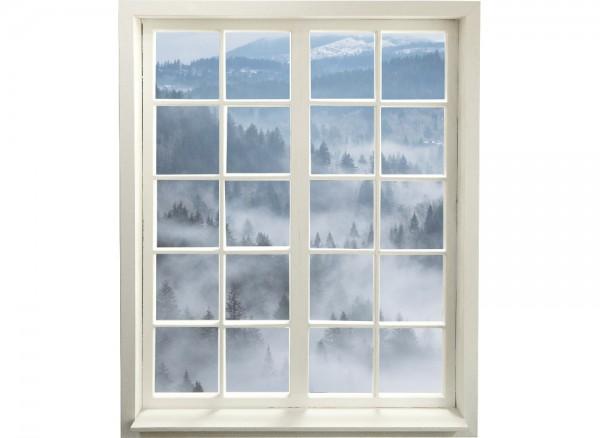 Wandtattoo selbstklebend Sprossenfenster mit Blick auf Nebelwald
