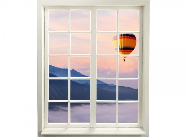 3D Sprossenfenster zum Aufkleben mit schöner Aussicht
